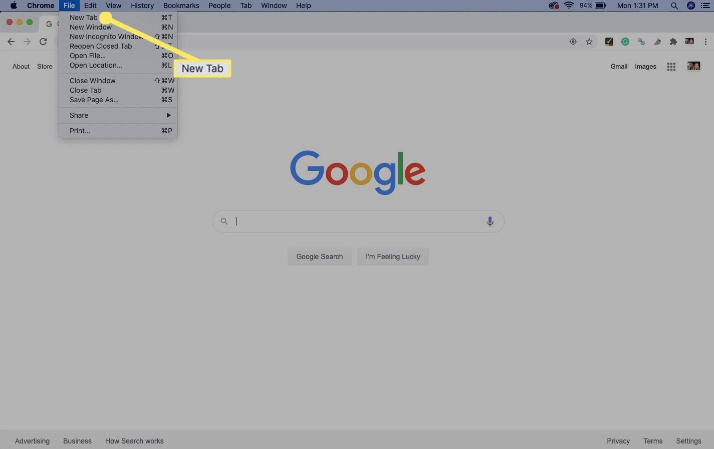 In Chrome, open a new tab by selecting File > New Tab.