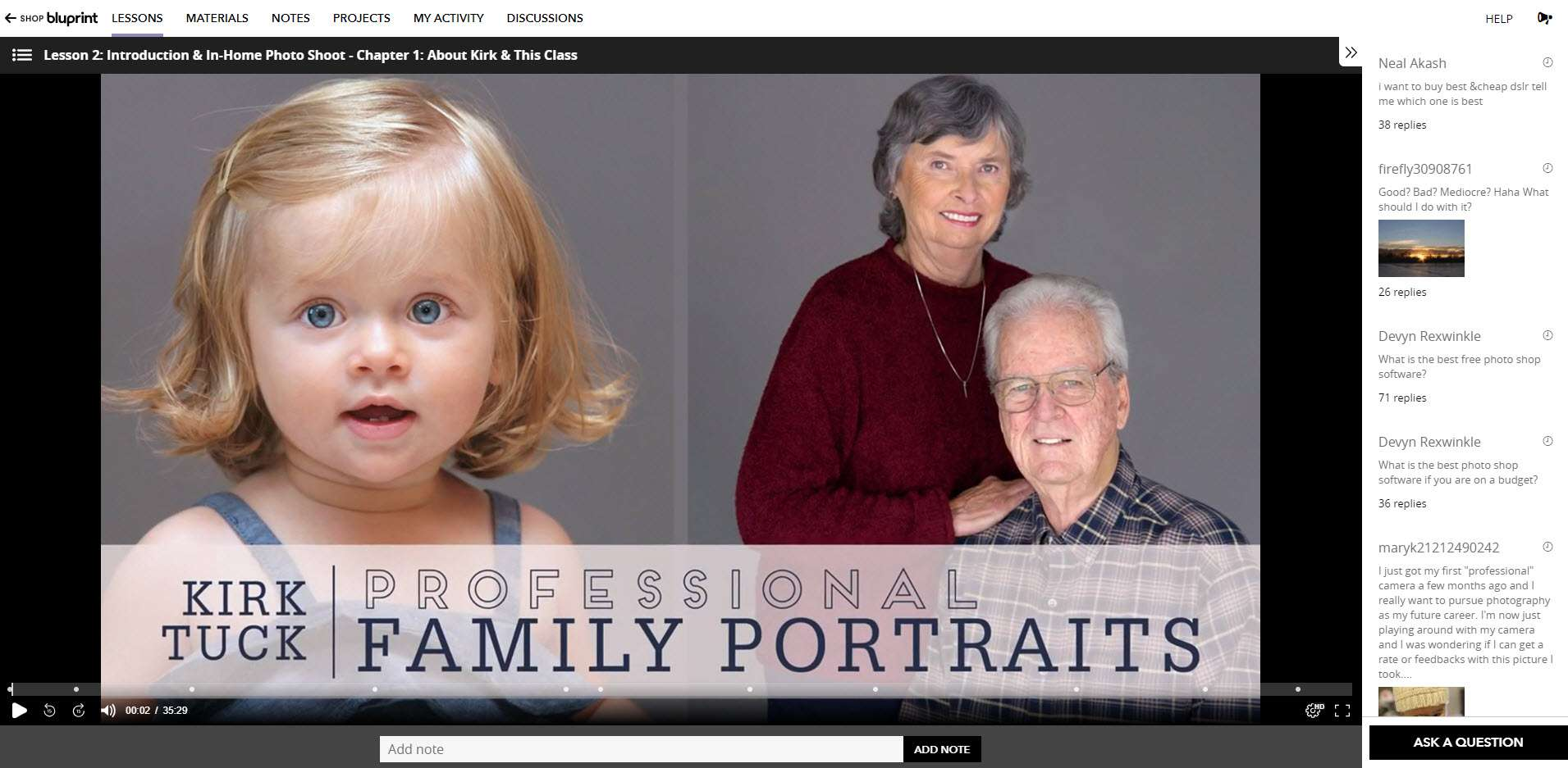 The Professional Family Portraits photography class web page.