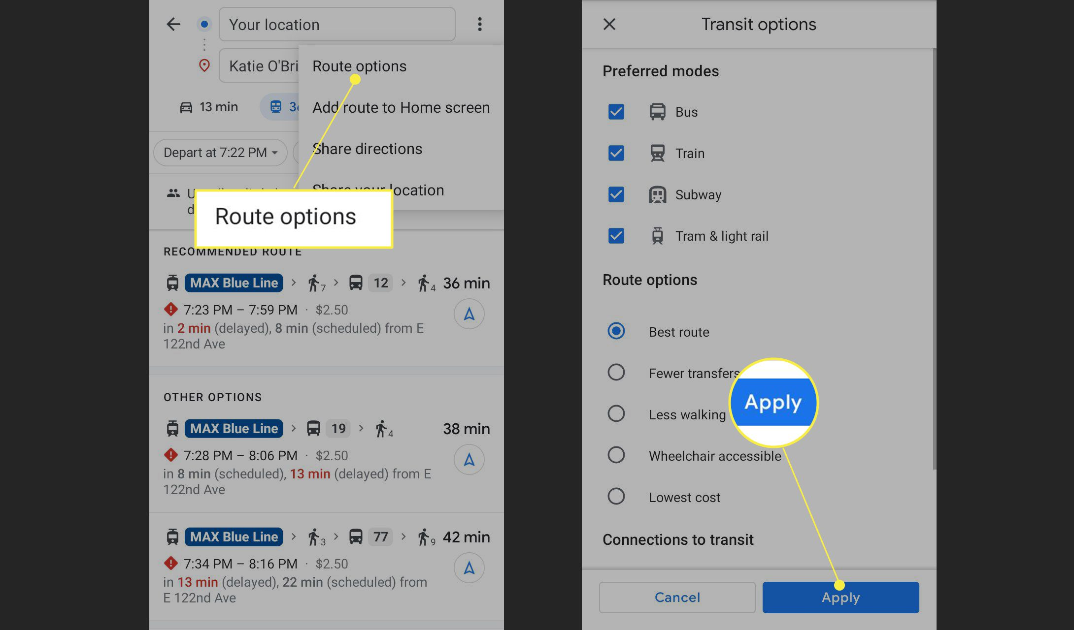 Route options and Apply highlighted in Google Maps Transit options