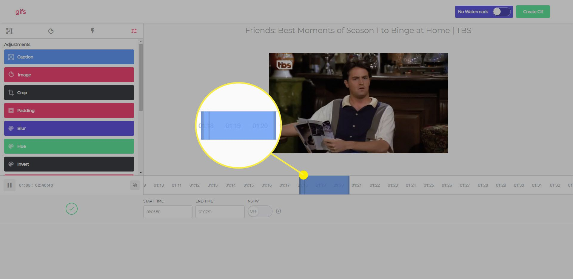 The selection box on gif.com when creating a GIF from a YouTube video.