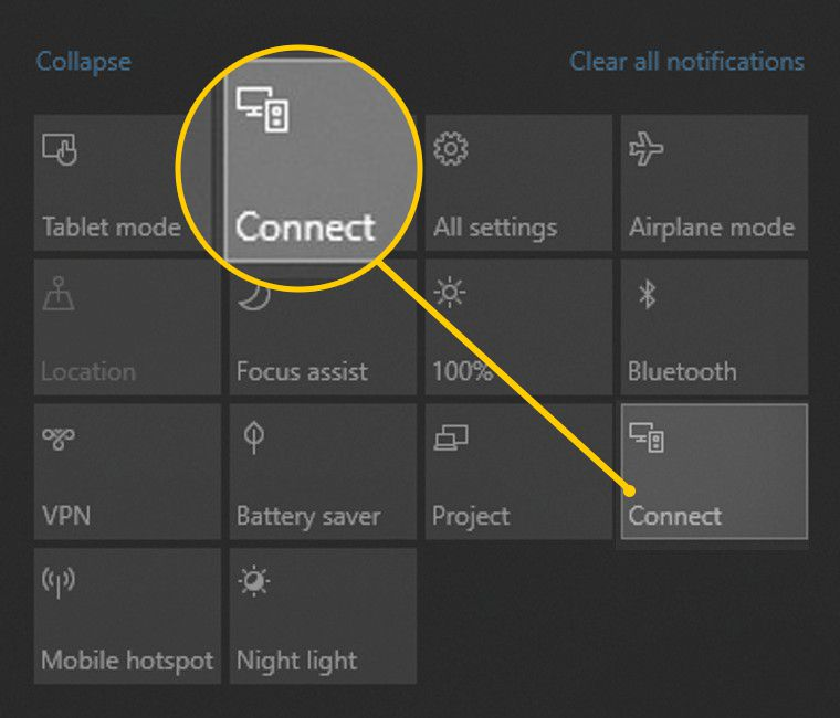 Connect button on Windows 10