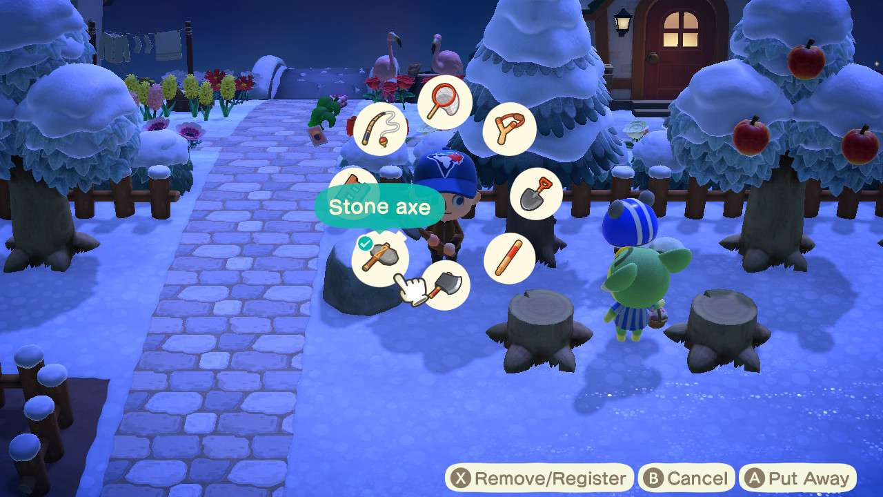 Equipping stone axe in Animal Crossing: New Horizons
