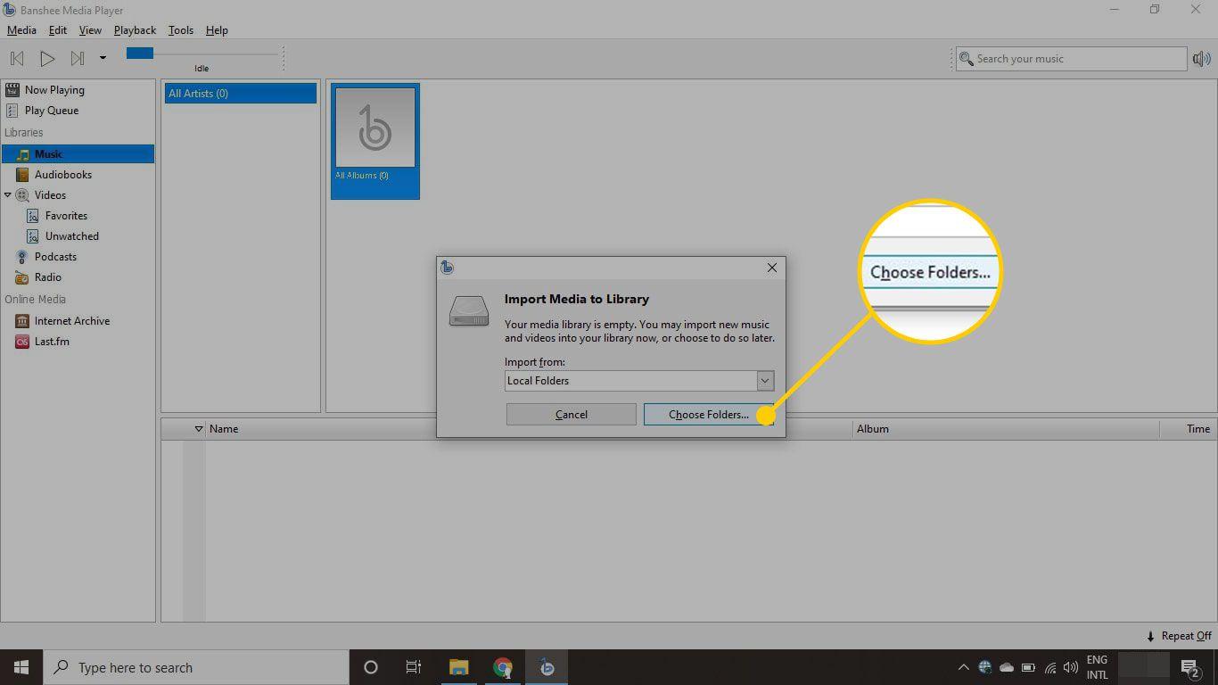 Choose Folders button in Banshee
