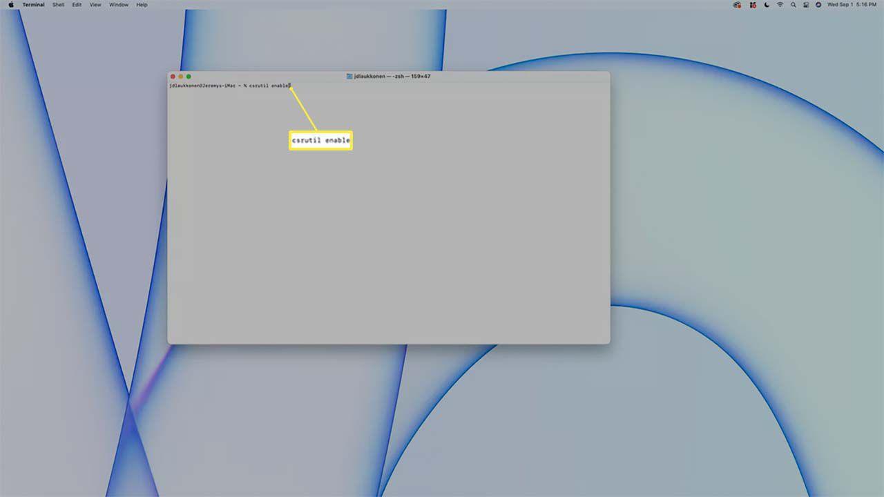 Entering csrutil enable in terminal on a Mac.