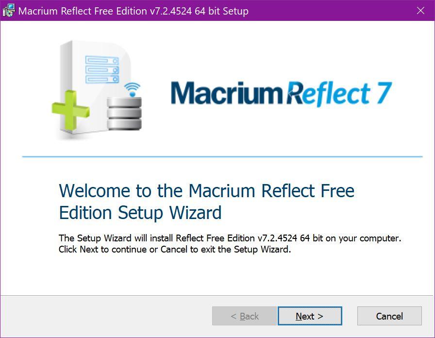 Macrium Reflect 7 Free Edition Setup Wizard