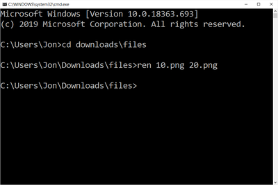 rename command example in Windows 10 command prompt