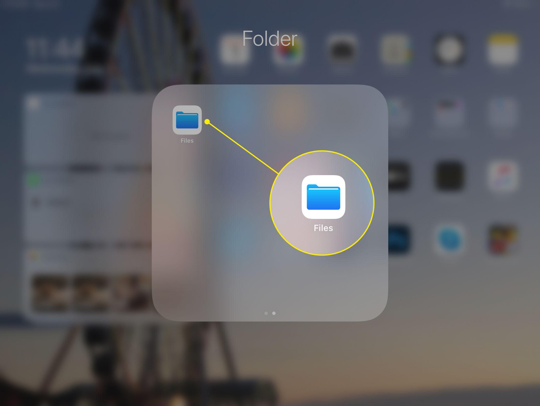 The Files app on an iPad