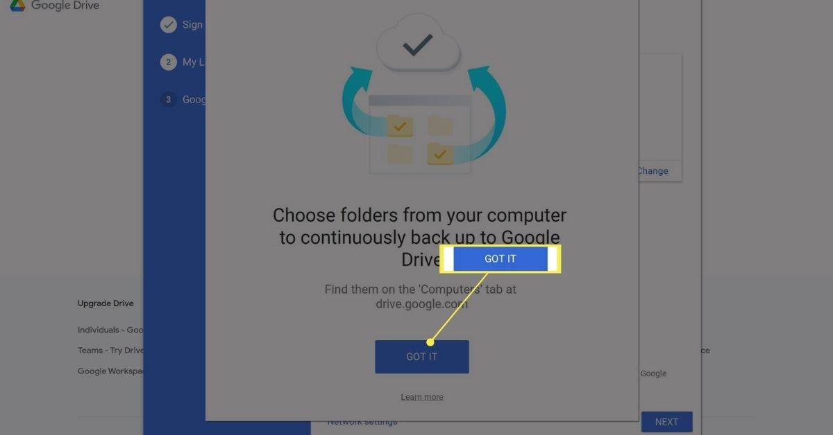 Got It button on Google Drive Backup and Sync app.