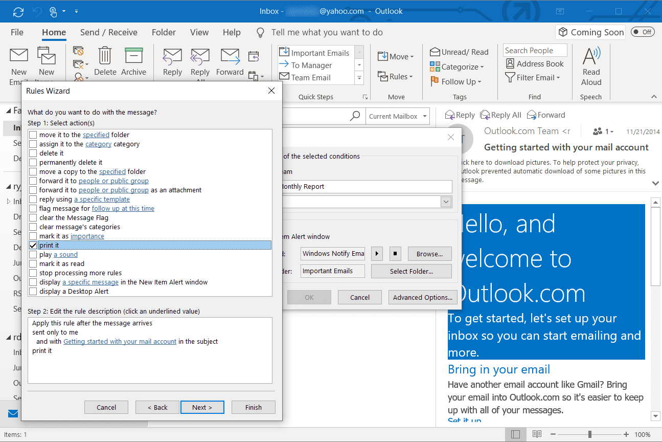 Selecting the print it action in Outlook