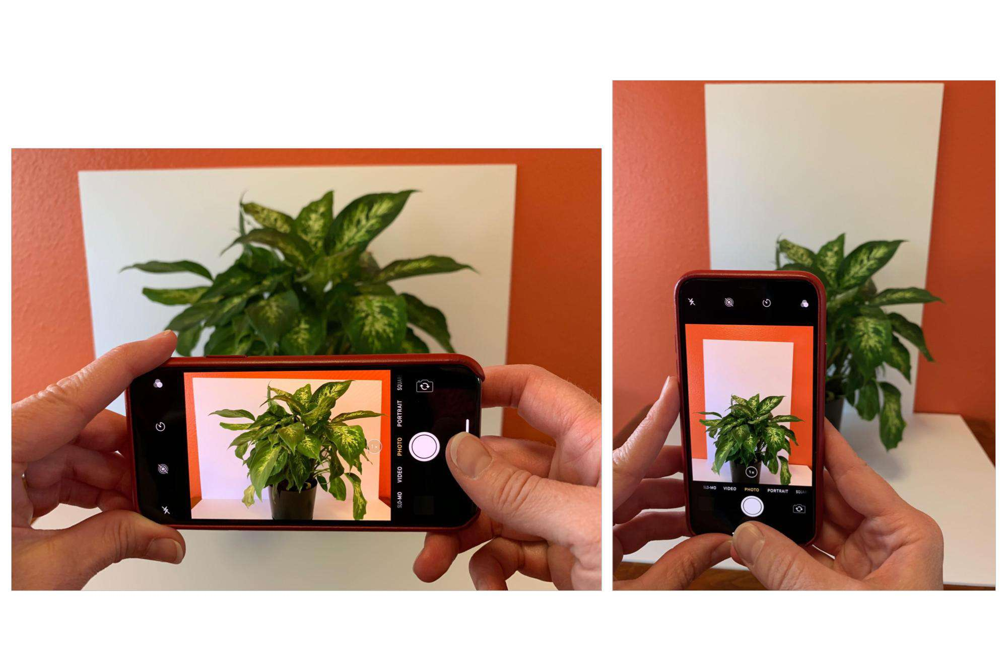 Left image shows iPhone held in landscape orientation; right image shows iPhone held in portrait orientation
