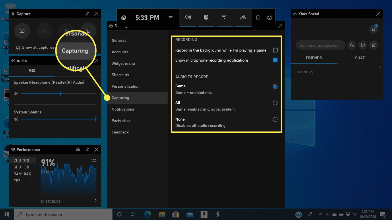 The Capturing tab and options in Game Bar settings
