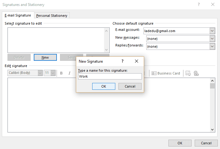 How to create an email signature in outlook 2016 name new signature screenshot in outlook 2016 colourmoves