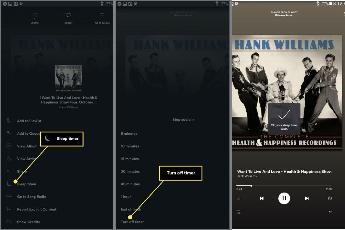 Turning Spotify sleep timer off