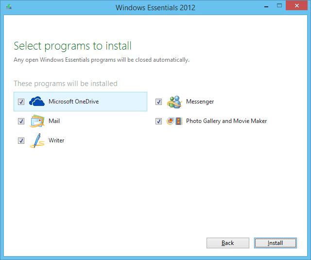 A screenshot of the Windows Essentials 2012 installer running on Windows 8.1