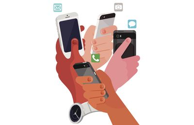 An illustration on hands holding smartphones, with app icons above them