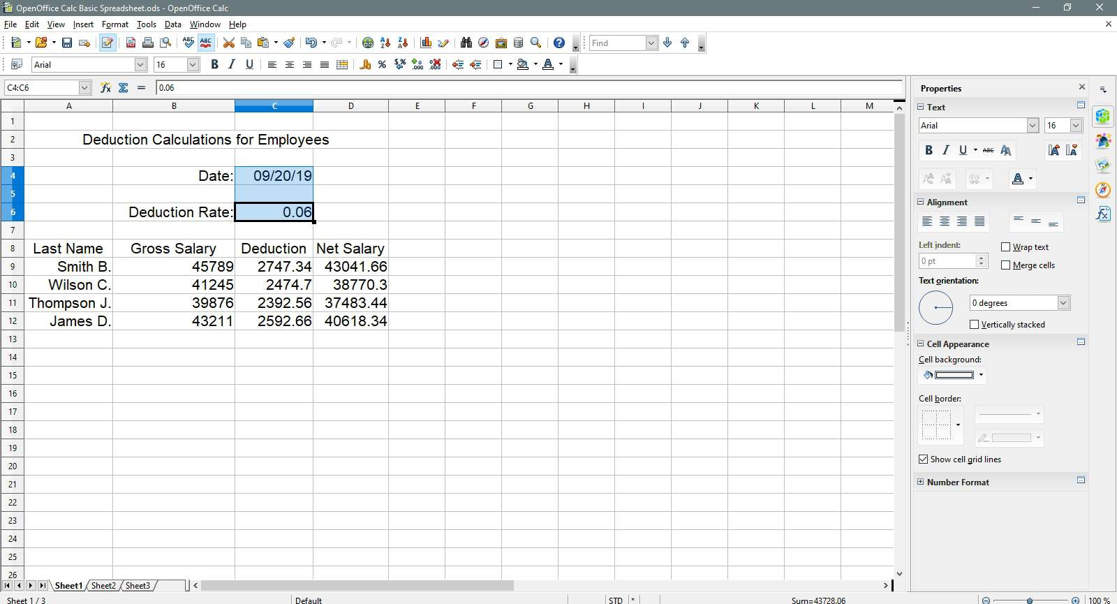 Date and deduction rate cells are highlighted in OpenOffice Calc.