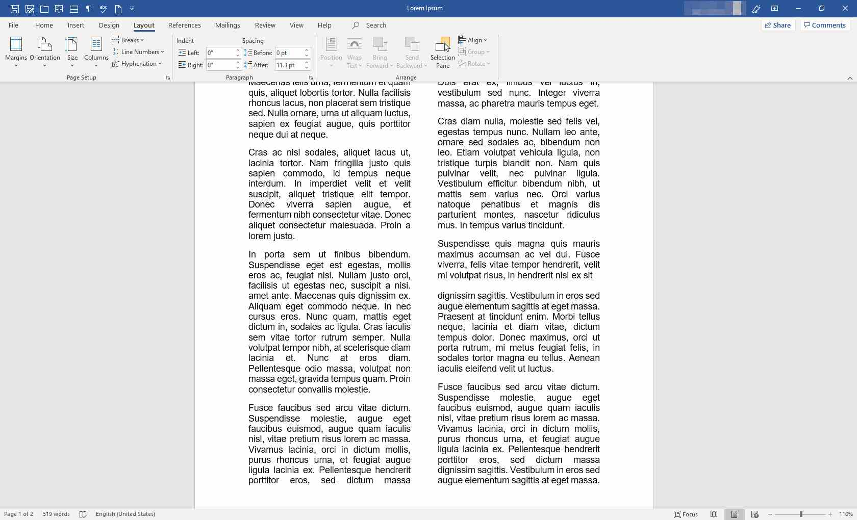 MS Word with evenly distributed columns