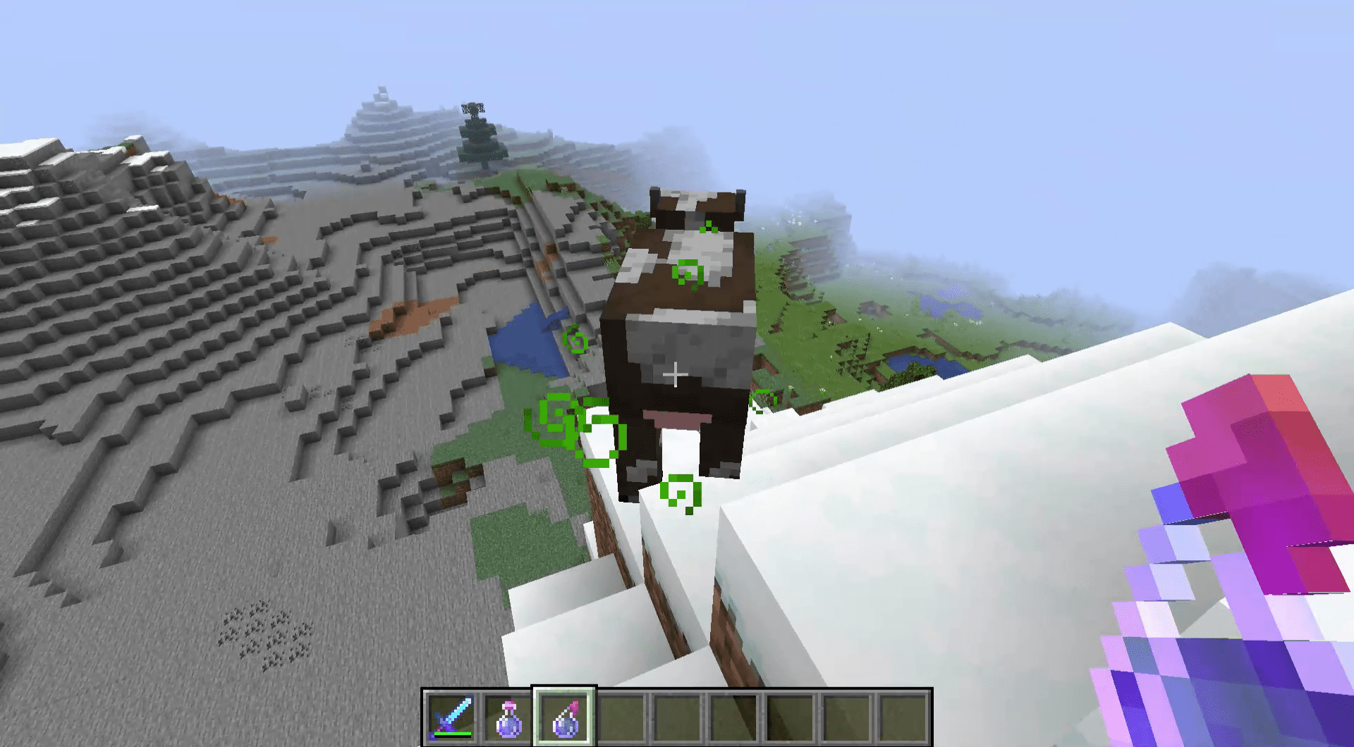 A lucky cow in Minecraft.