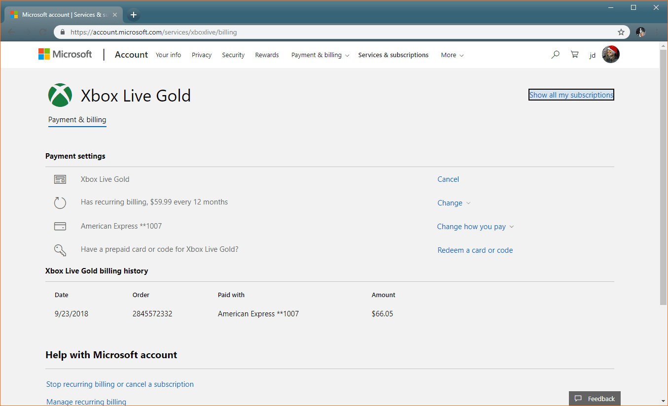 Viewing the Xbox Live subscription on the Microsoft website