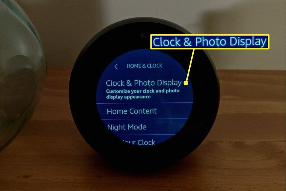 Clock and Photos Display highlighted in Echo Spot settings