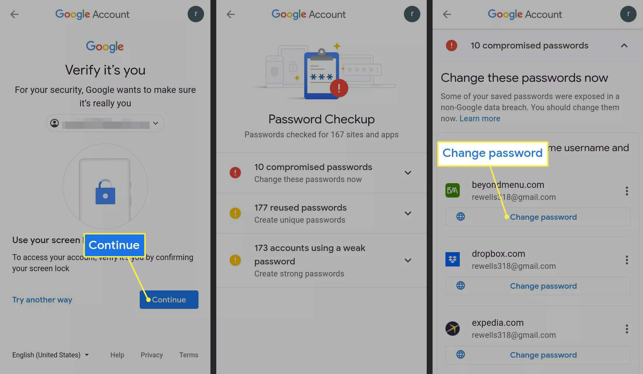 Continue and Change password highlighted in Android Settings