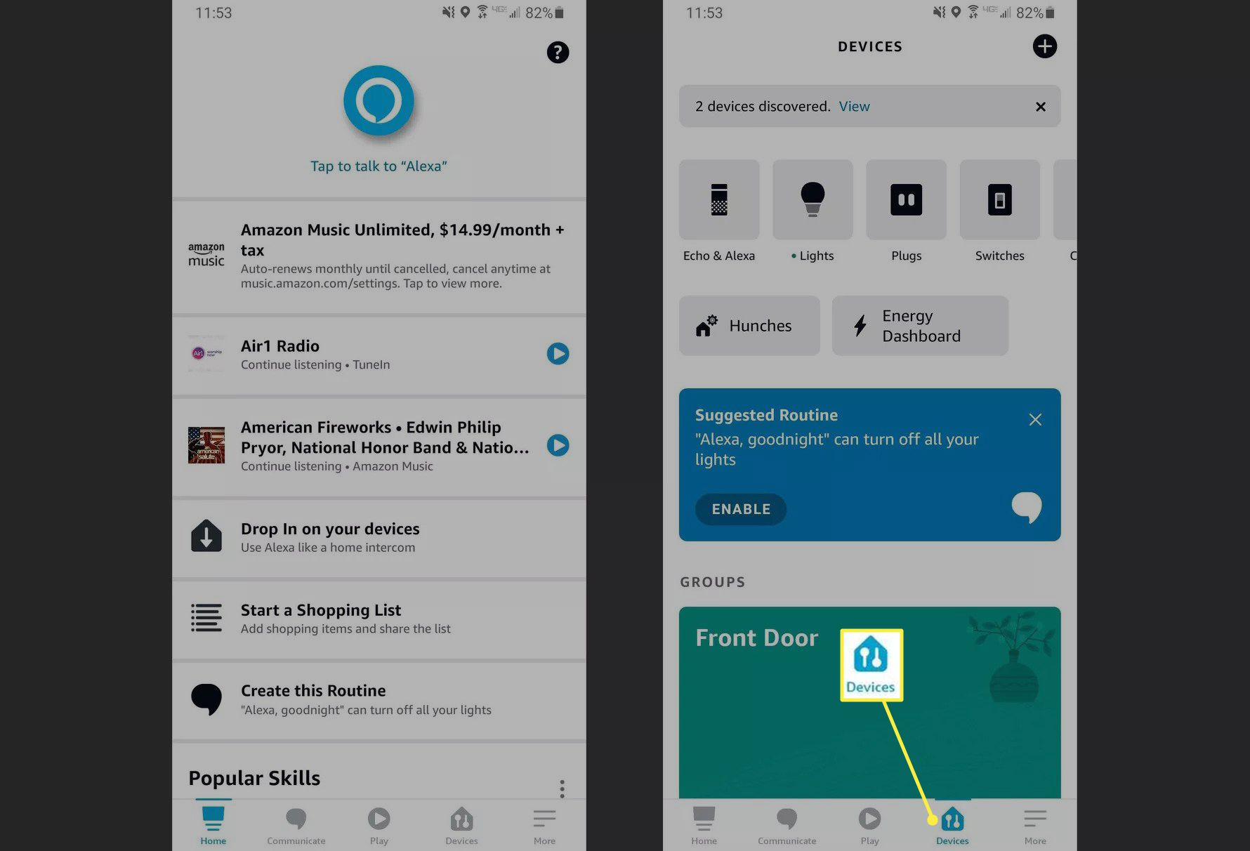 Devices tab in Amazon Alexa app