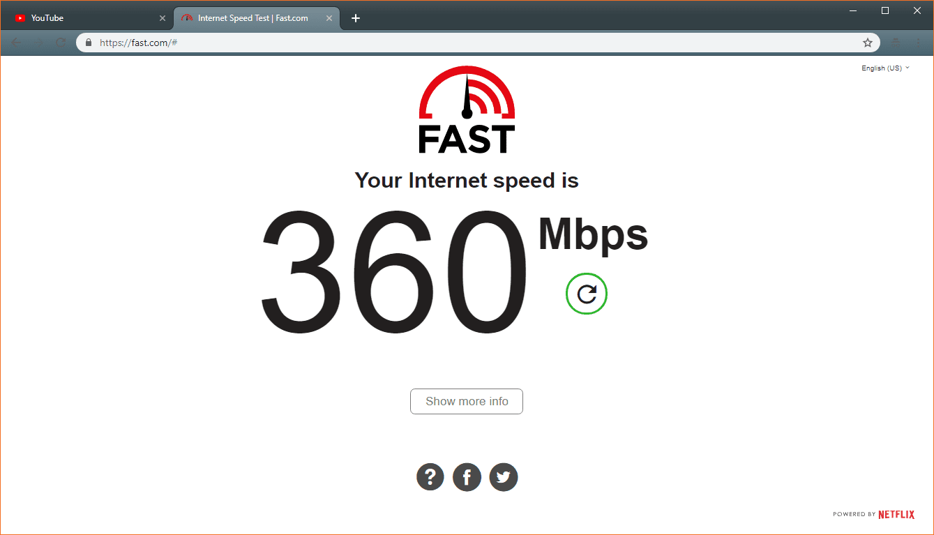 Check your internet connection speed with the fast.com speed test tool.