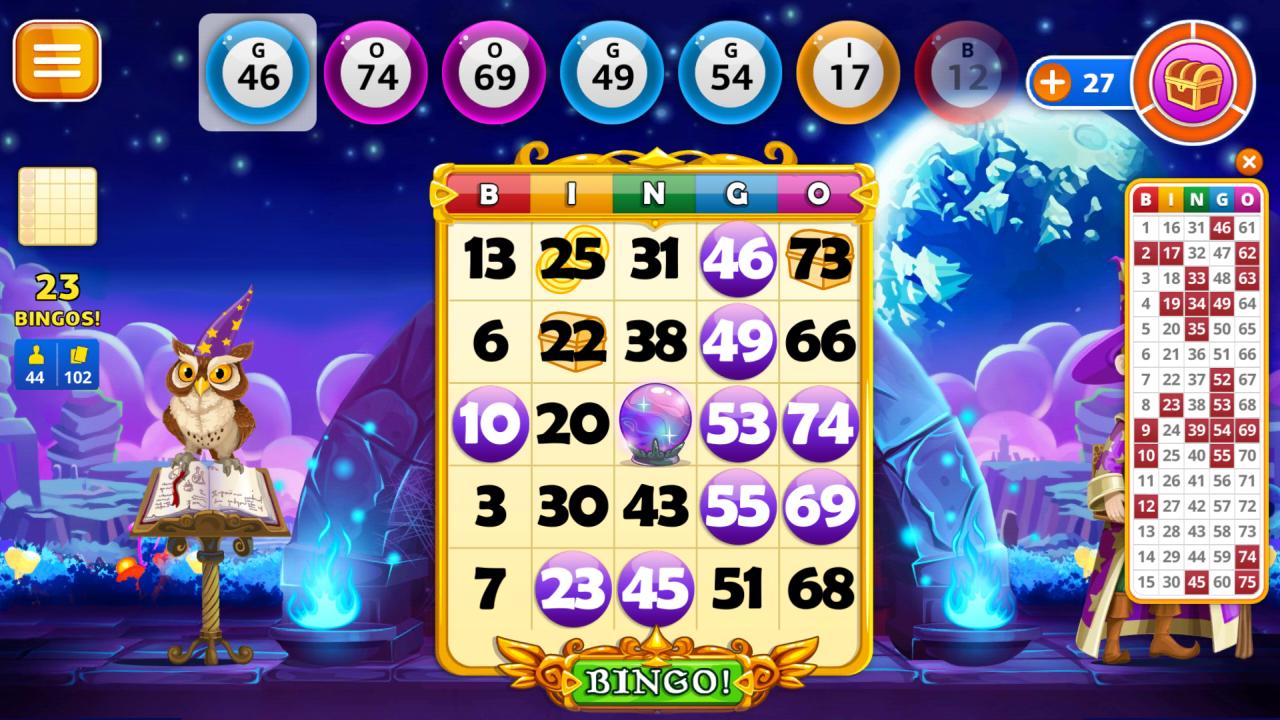 Screenshot of playing Wizard Bingo on Android