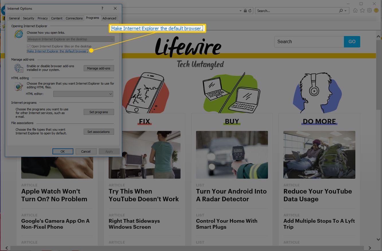 Make Internet Explorer the default browser link in Windows 10 Internet Options