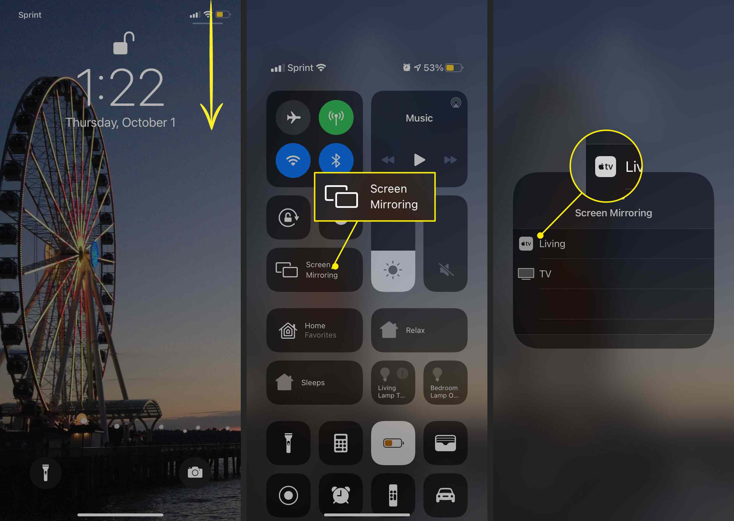 The Screen Mirroring button and an Apple TV in iOS Control Center