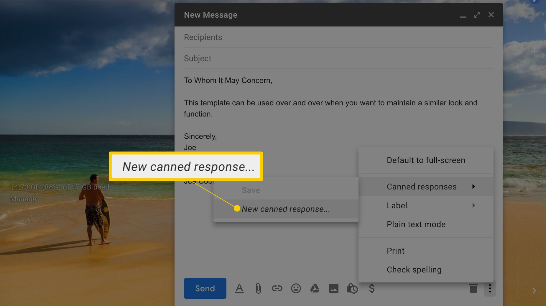 New canned response in Gmail