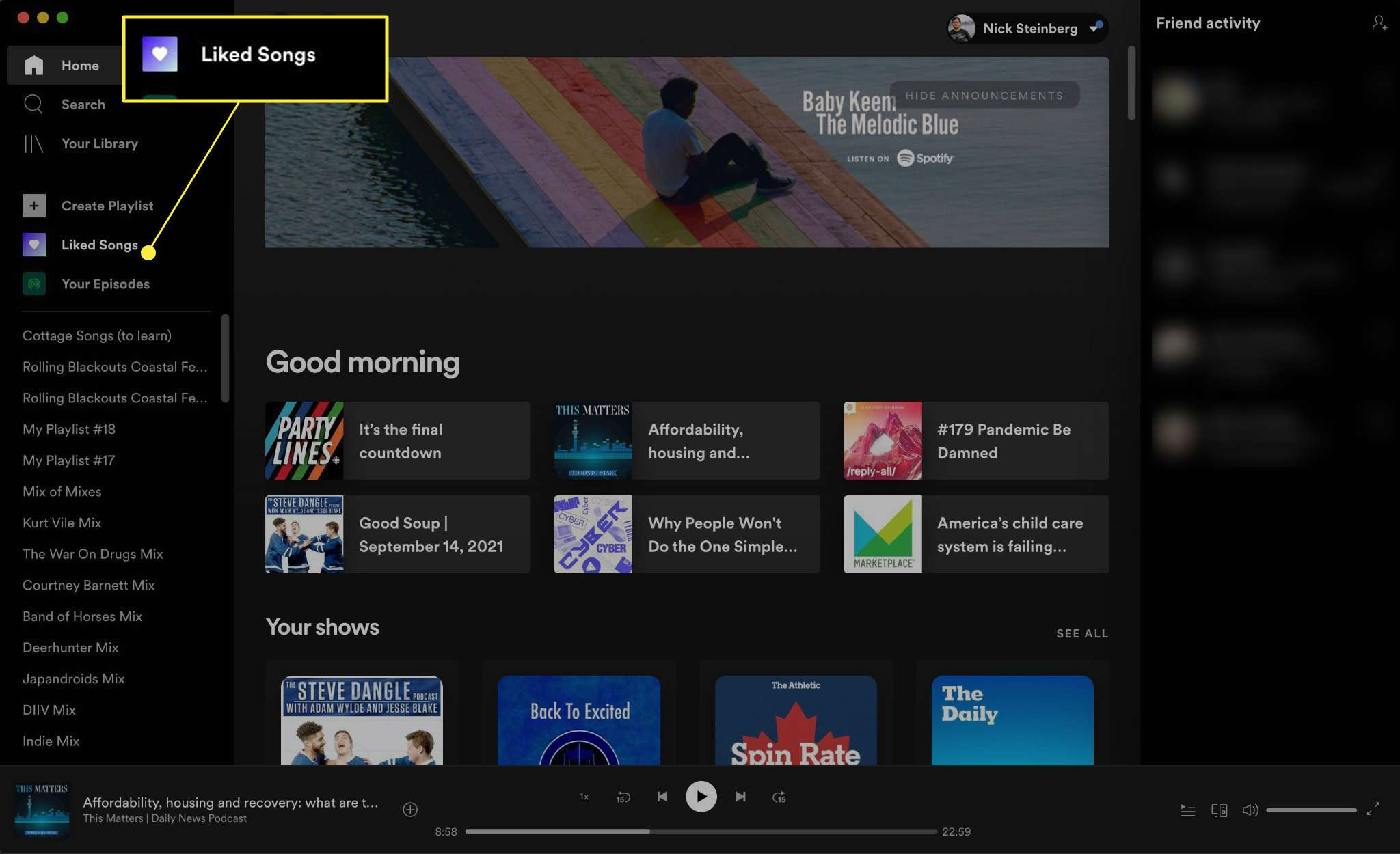 Navigating to Liked Songs from the home menu on Spotify Mac app.