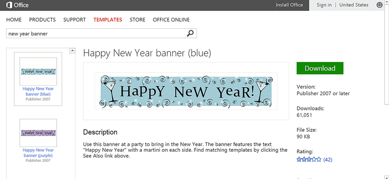 happy new year banner for microsoft publisher screenshot