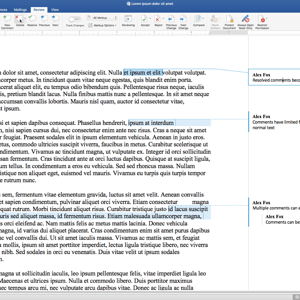 how to resolve a comment in word
