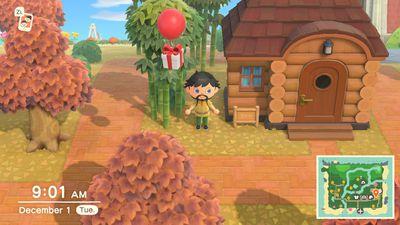 Animal Crossing character below floating present