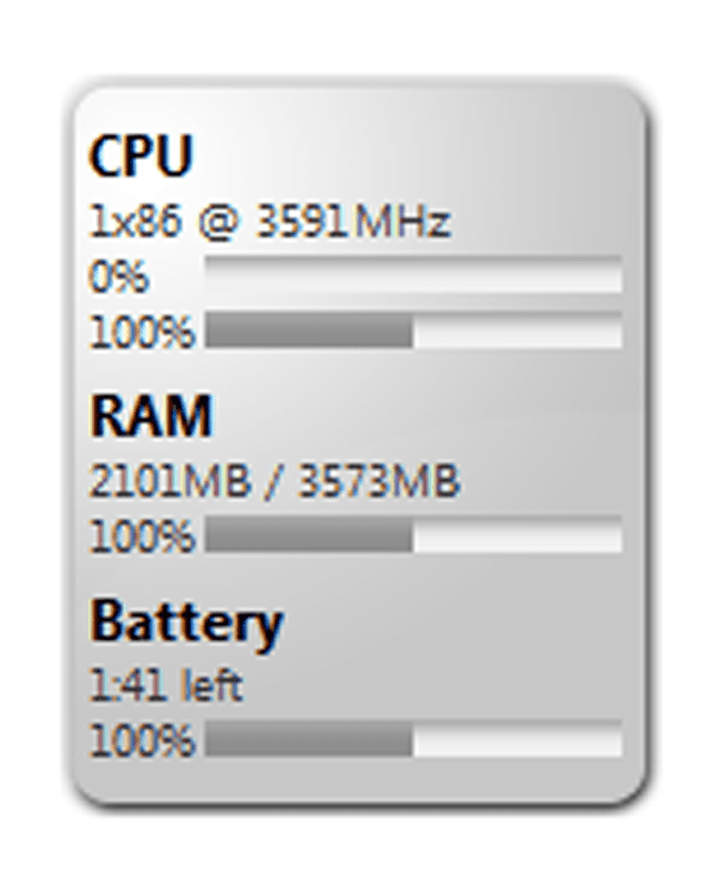 Screenshot of the Memeter Gadget in Windows 7