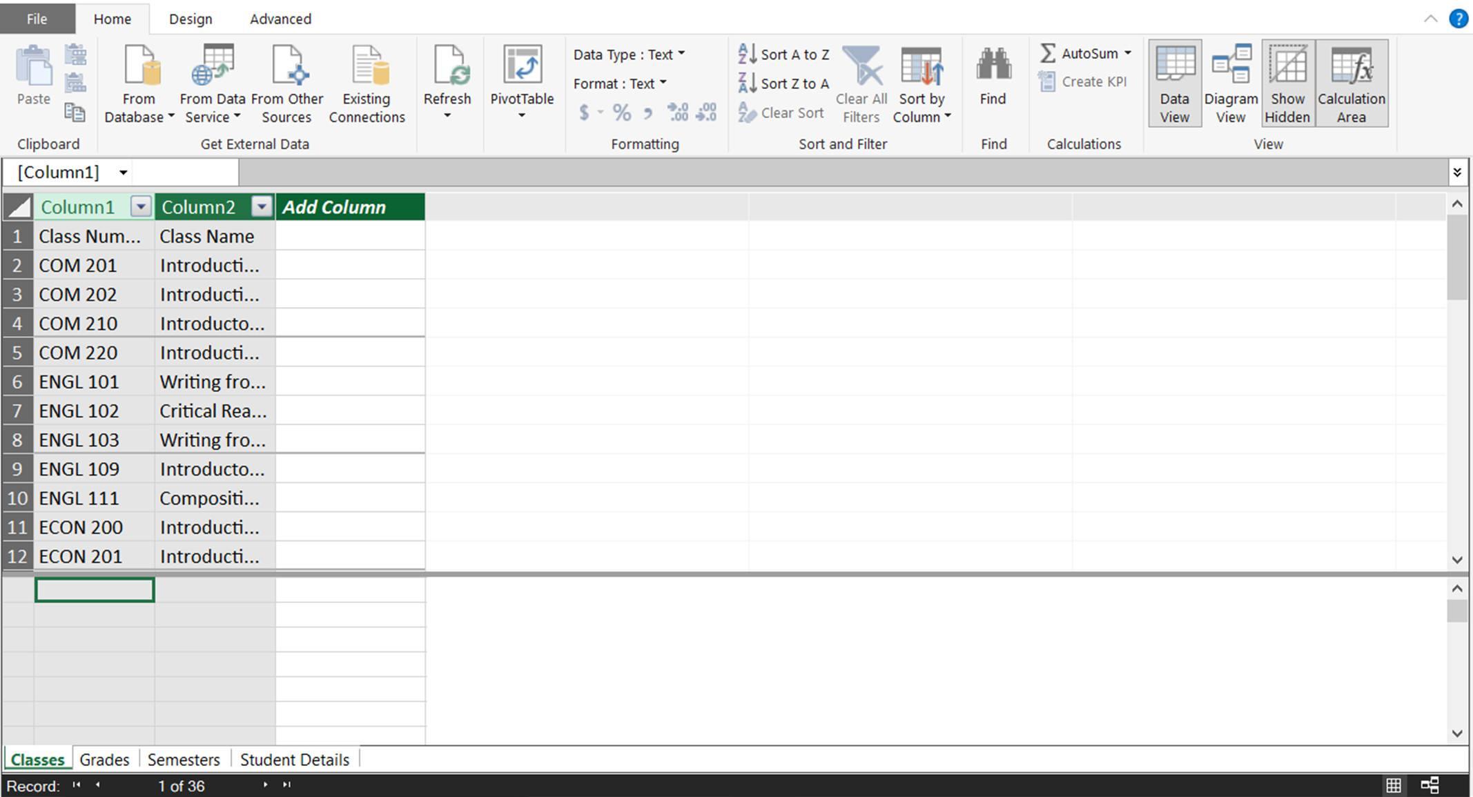 A screenshot showing the data model in the PowerPivot window
