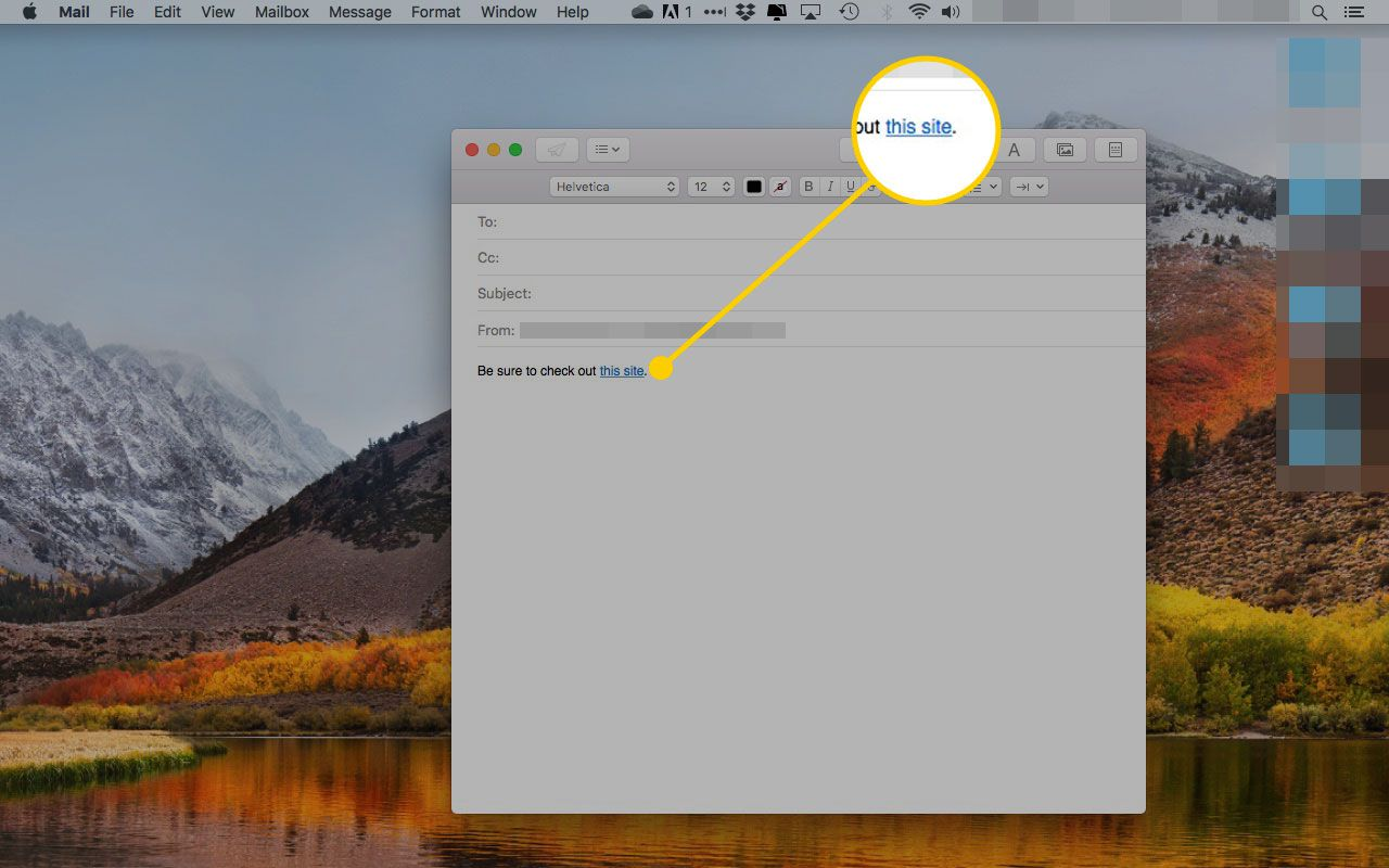 A new message in Mail for macOS with an inline link highlighted