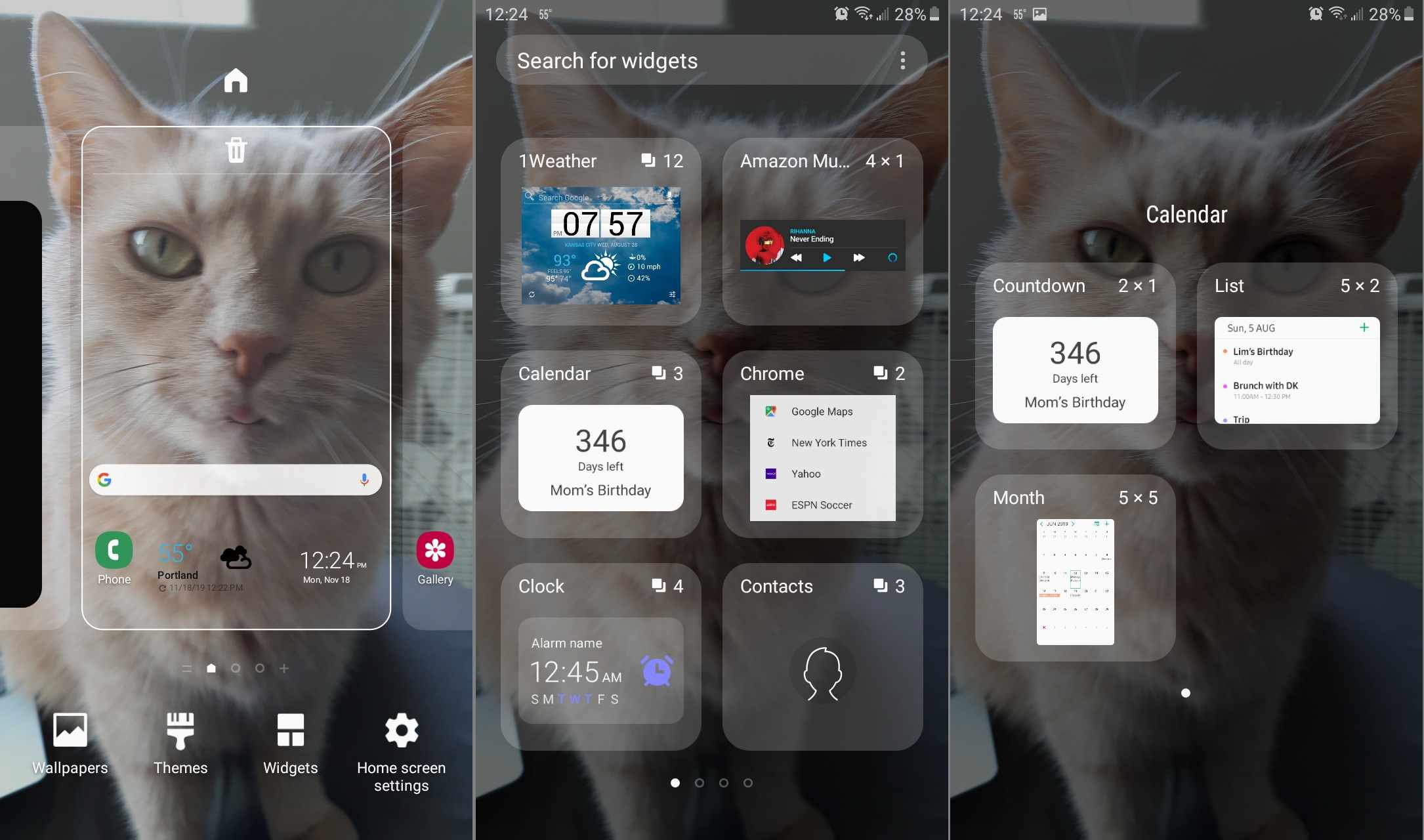 Touch and hold on the home screen, then select Widgets > Calendar > Countdown.