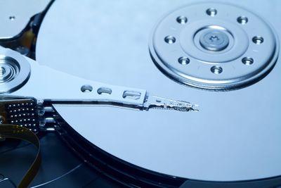 Close-up of a hard drive