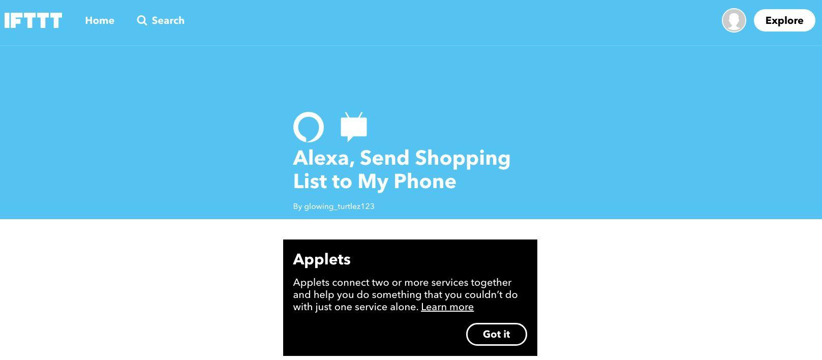 Screenshot of IFTTT applet that lets Alexa send shopping list to phone