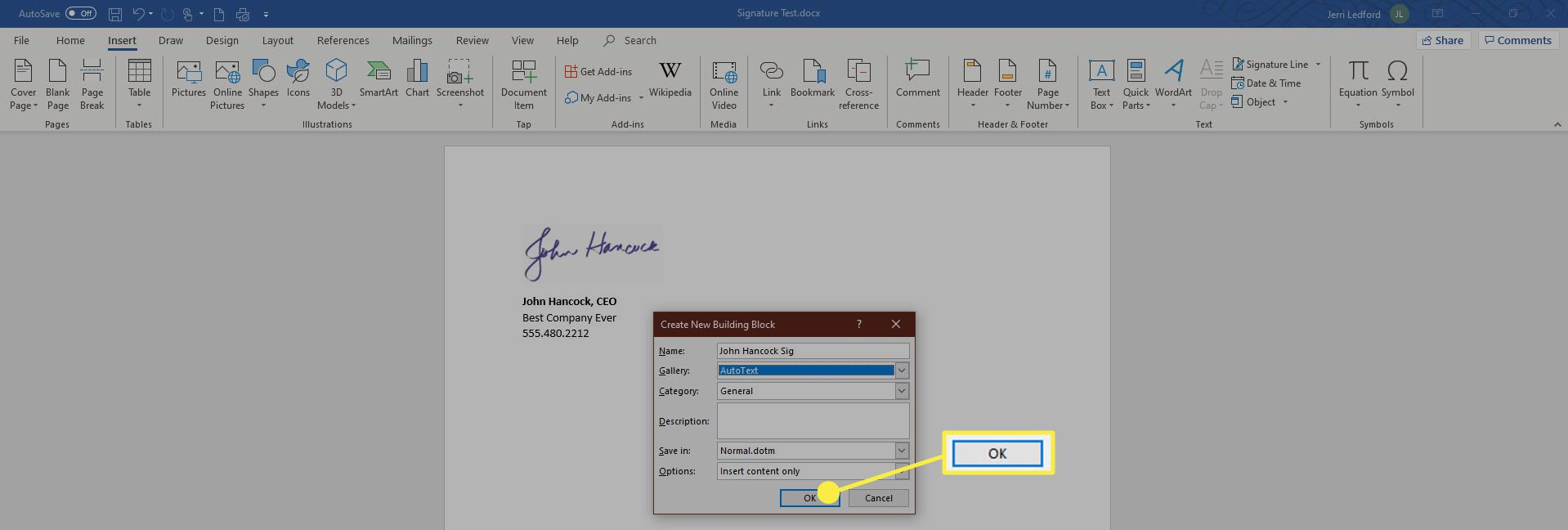 Creating Autotext Signature in Word.