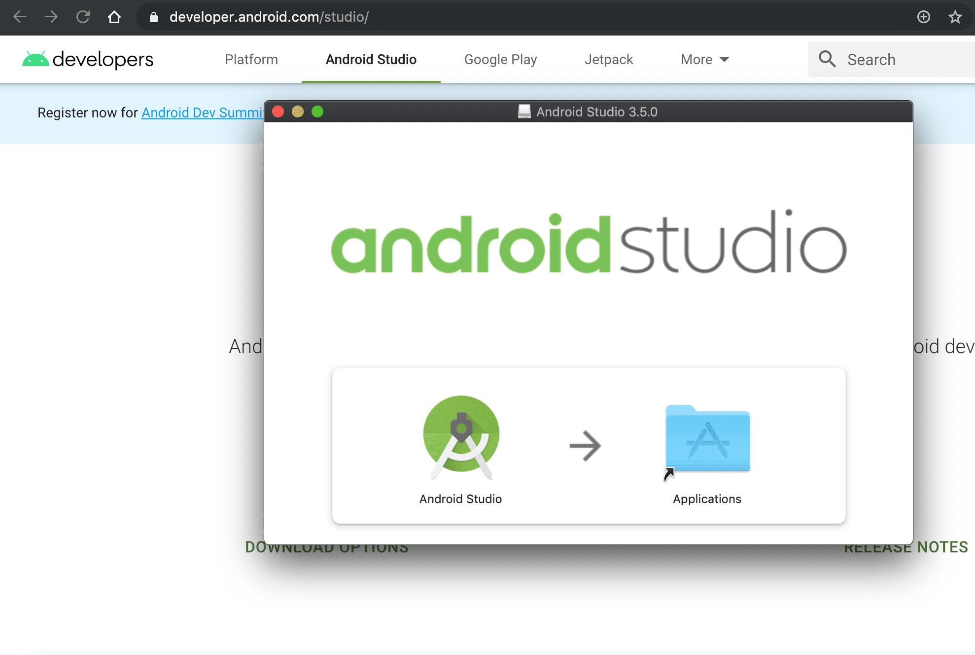 screenshot of Android Studio macOS disk image