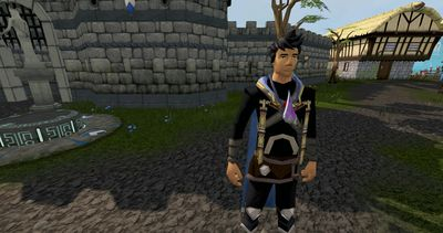 A player in RuneScape standing in Lumbridge