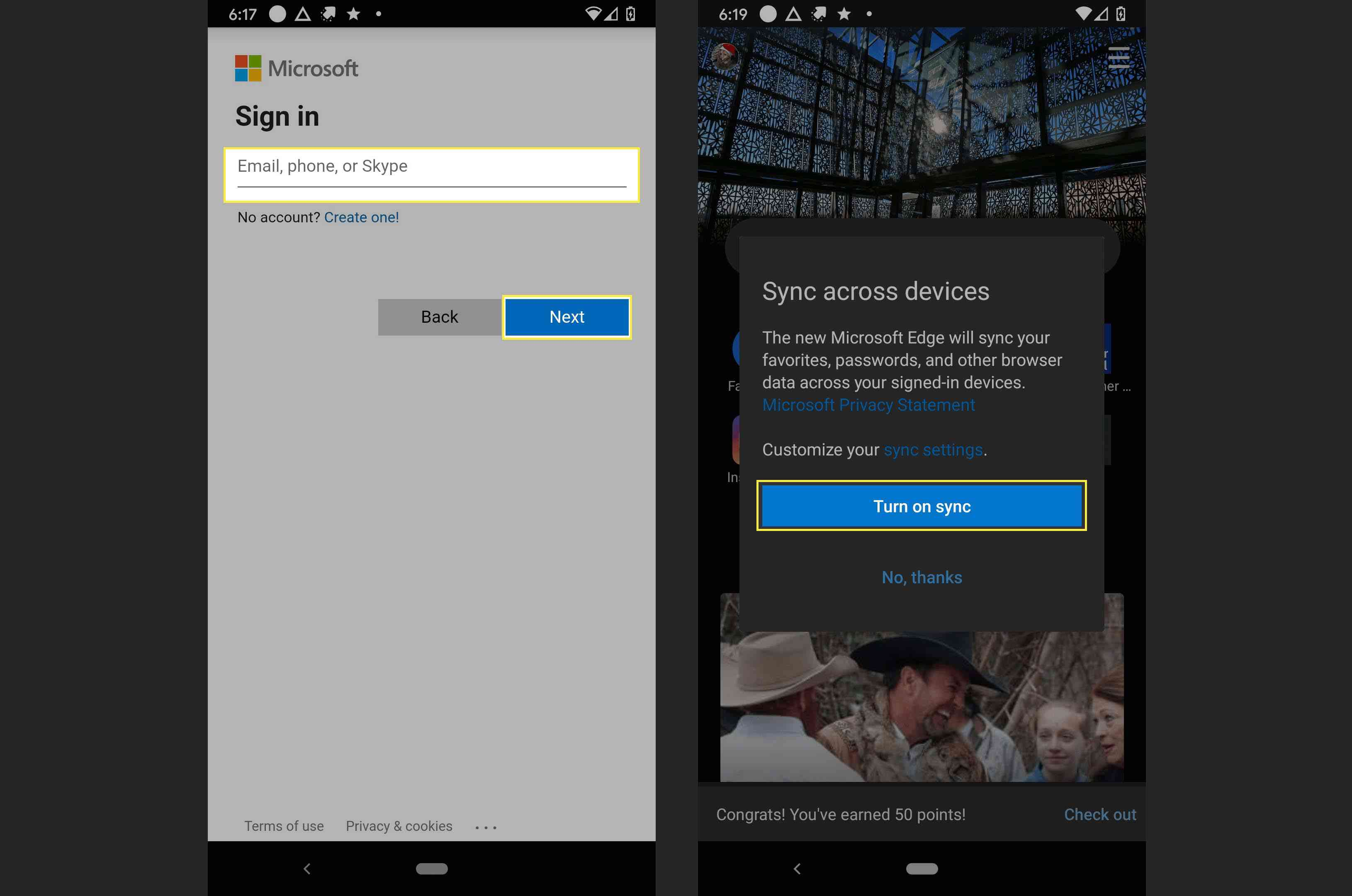 Completing the signing into Microsoft to sync favorites in MS Edge on Android.