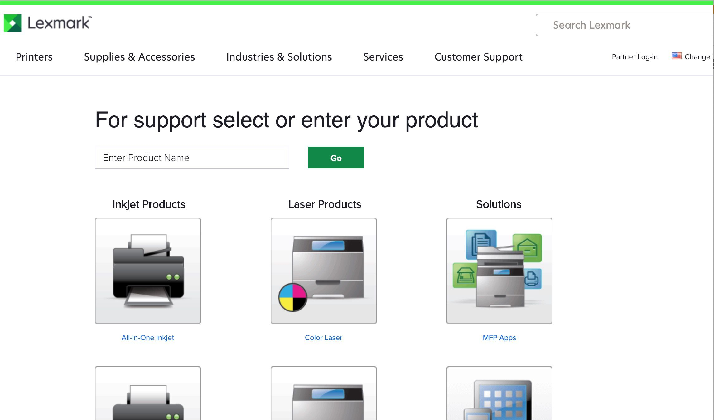 Lexmark support page