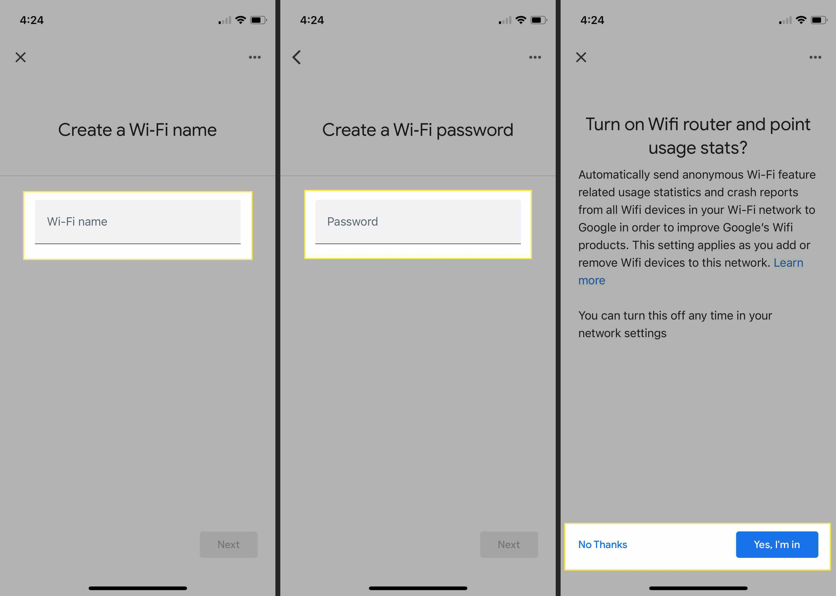 Initial steps to configuring your Google Nest system with Wi-Fi Name, Password, and Usage stats options highlighted
