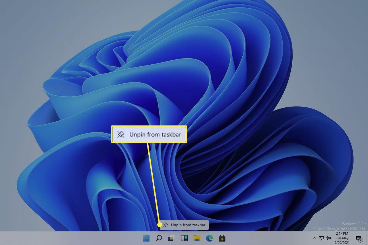 Unpin from taskbar button in Windows 11