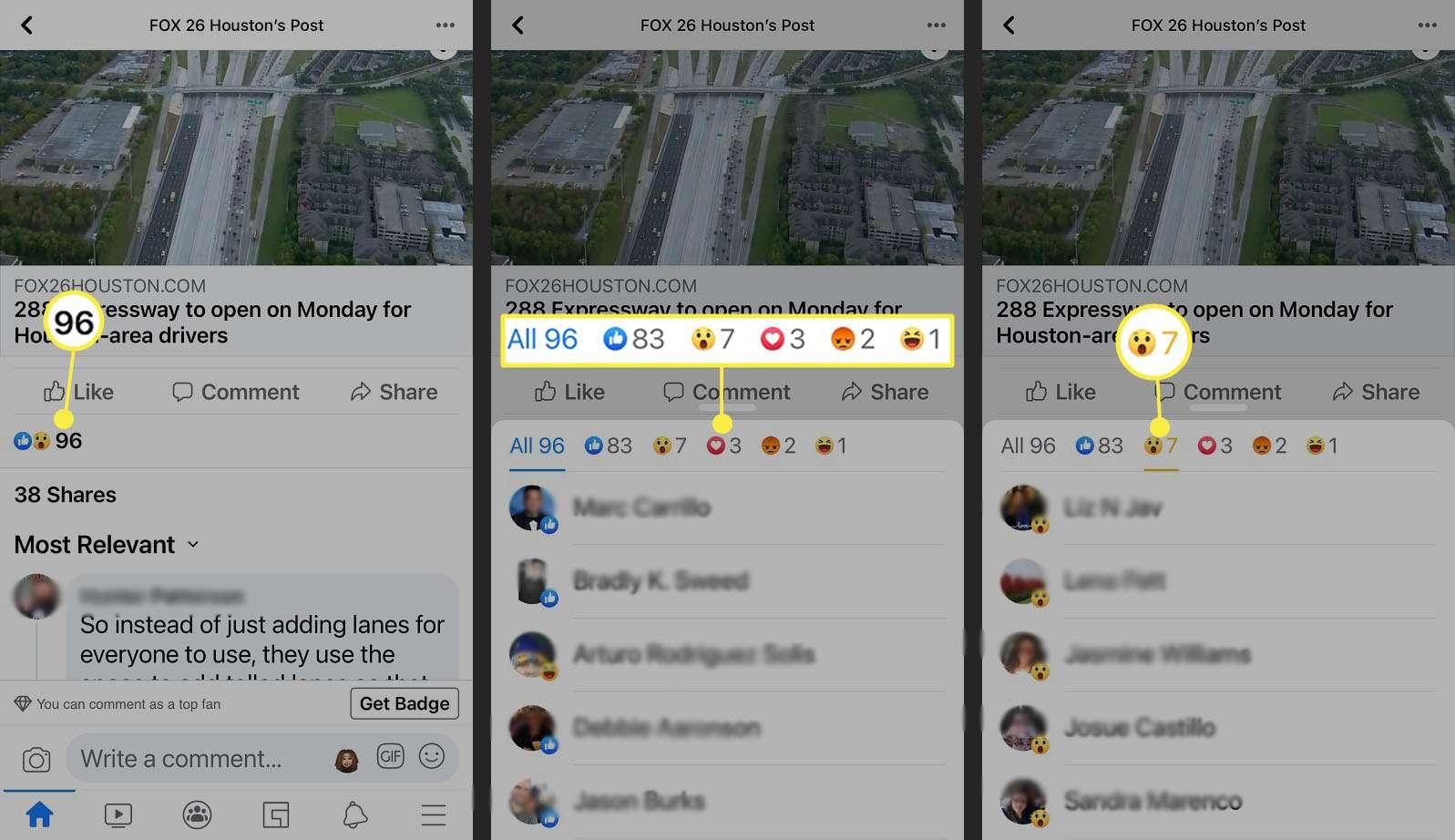Facebook - breakdown of reactions