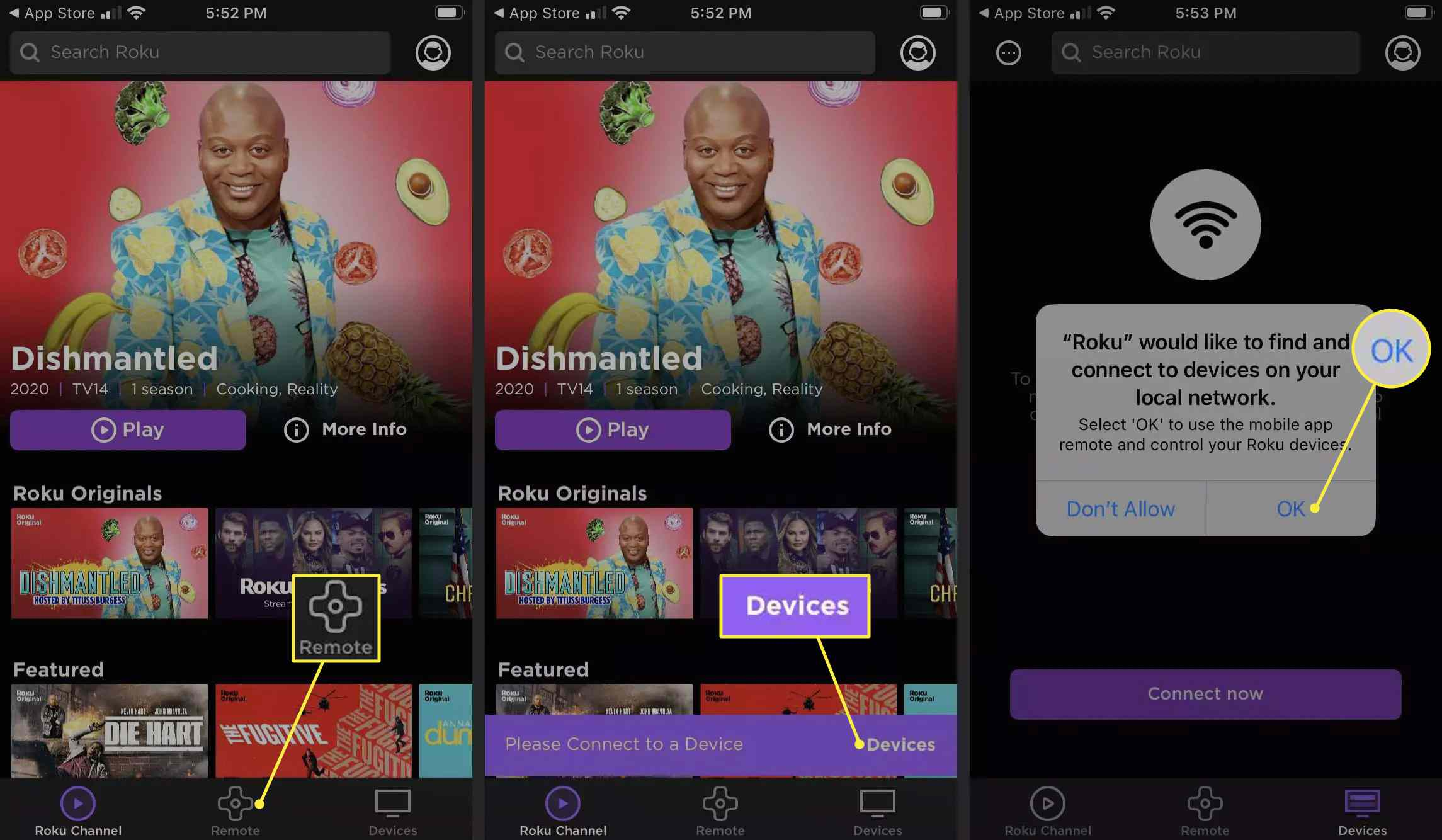 Remote, Devices, and OK highlighted in the Roku app